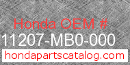 Honda 11207-MB0-000 genuine part number image