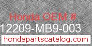 Honda 12209-MB9-003 genuine part number image
