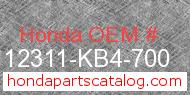 Honda 12311-KB4-700 genuine part number image