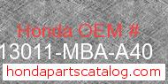 Honda 13011-MBA-A40 genuine part number image