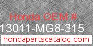 Honda 13011-MG8-315 genuine part number image