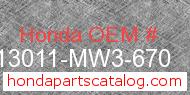 Honda 13011-MW3-670 genuine part number image