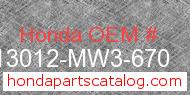 Honda 13012-MW3-670 genuine part number image
