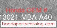 Honda 13021-MBA-A40 genuine part number image