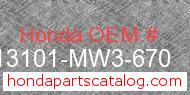 Honda 13101-MW3-670 genuine part number image
