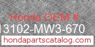 Honda 13102-MW3-670 genuine part number image