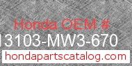 Honda 13103-MW3-670 genuine part number image