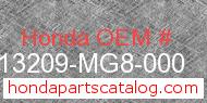 Honda 13209-MG8-000 genuine part number image