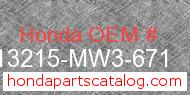 Honda 13215-MW3-671 genuine part number image