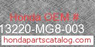 Honda 13220-MG8-003 genuine part number image