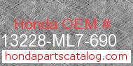 Honda 13228-ML7-690 genuine part number image