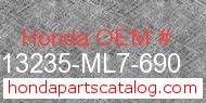Honda 13235-ML7-690 genuine part number image
