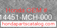 Honda 14451-MCH-000 genuine part number image