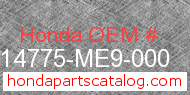Honda 14775-ME9-000 genuine part number image