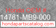 Honda 14781-MB9-000 genuine part number image