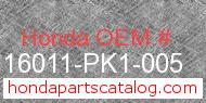 Honda 16011-PK1-005 genuine part number image
