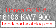 Honda 16106-KW7-900 genuine part number image
