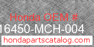 Honda 16450-MCH-004 genuine part number image