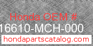 Honda 16610-MCH-000 genuine part number image