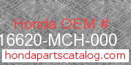 Honda 16620-MCH-000 genuine part number image