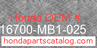 Honda 16700-MB1-025 genuine part number image