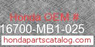 Honda 16700-MB1-025 genuine part number image