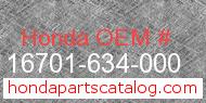 Honda 16701-634-000 genuine part number image