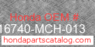 Honda 16740-MCH-013 genuine part number image