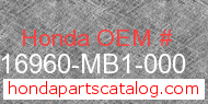 Honda 16960-MB1-000 genuine part number image