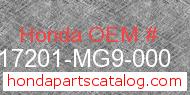 Honda 17201-MG9-000 genuine part number image