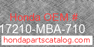 Honda 17210-MBA-710 genuine part number image