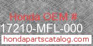 Honda 17210-MFL-000 genuine part number image