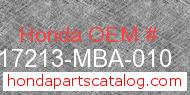 Honda 17213-MBA-010 genuine part number image