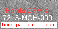 Honda 17213-MCH-000 genuine part number image