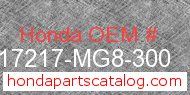 Honda 17217-MG8-300 genuine part number image