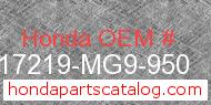 Honda 17219-MG9-950 genuine part number image
