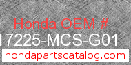 Honda 17225-MCS-G01 genuine part number image