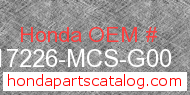 Honda 17226-MCS-G00 genuine part number image