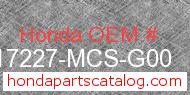 Honda 17227-MCS-G00 genuine part number image