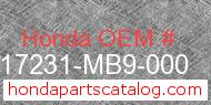 Honda 17231-MB9-000 genuine part number image