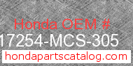 Honda 17254-MCS-305 genuine part number image