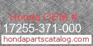 Honda 17255-371-000 genuine part number image