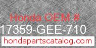 Honda 17359-GEE-710 genuine part number image