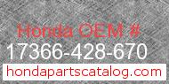Honda 17366-428-670 genuine part number image