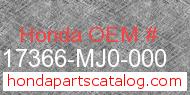 Honda 17366-MJ0-000 genuine part number image