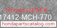Honda 17412-MCH-770 genuine part number image
