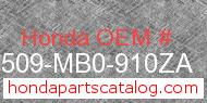 Honda 17509-MB0-910ZA genuine part number image