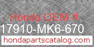 Honda 17910-MK6-670 genuine part number image