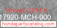 Honda 17920-MCH-000 genuine part number image
