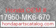 Honda 17950-MK6-670 genuine part number image
